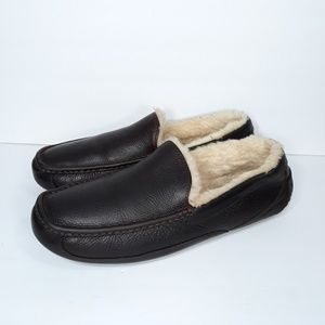 UGG Ascot Leather Slippers Brown Sz 13